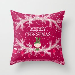 Merry christmas and happy new year 12 Throw Pillow