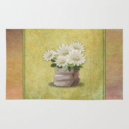 White Flowers on Green Grunge Textured-Look Background Rug