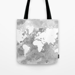 Design 49 Grayscale World Map Tote Bag
