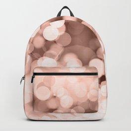 Christmas rose gold pink brown bokeh glitter Backpack