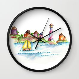 Lighthouse, Beach Decor, Sailboat Wall Clock