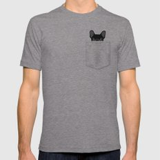 Pocket French Bulldog - Black Mens Fitted Tee Tri-Grey MEDIUM