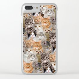 cats pattern lot of funny animals cheesy crazy Clear iPhone Case