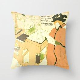 """Henri de Toulouse-Lautrec """"Couverture de l'estampe originale"""" Throw Pillow"""
