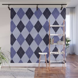 Blue Argyle Pattern Wall Mural
