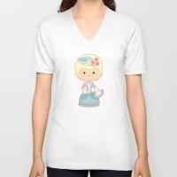 marie antoinette V-neck T-shirts featuring Marie Antoinette by Sombras Blancas Art & Design