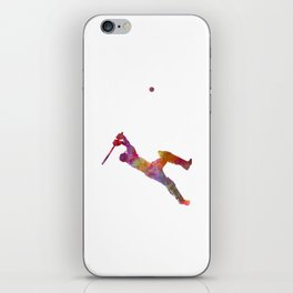 Cricket player batsman silhouette 04 iPhone Skin