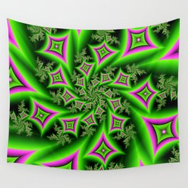 Green And Pink Shapes Fractal Wall Tapestry