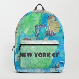 New York City Favorite Travel Map with Touristic Highlights Backpack