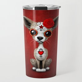 Red Day of the Dead Sugar Skull Chihuahua Puppy Travel Mug