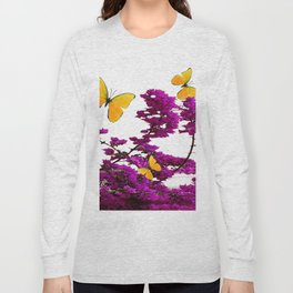 YELLOW BUTTERFLIES & PURPLE BOUGAINVILLEA FLOWERS Long Sleeve T-shirt