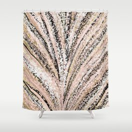 Rose Gold and Glitter Brushstroke Bursts Shower Curtain