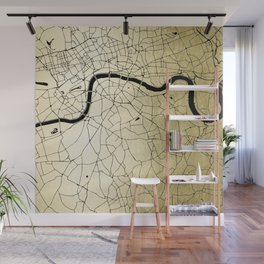 London Gold on Black Street Map Wall Mural