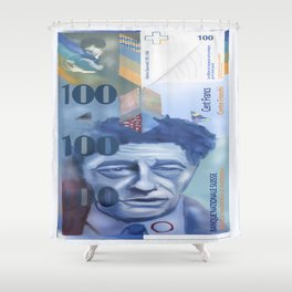 100 Swiss Francs Note Bill - Front side Shower Curtain