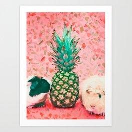 Guinea pig and pineapple Art Print