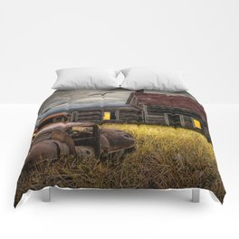 The Death of the Small American Farm with Abandoned Truck and Farm House Comforters