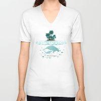 manatee V-neck T-shirts featuring Manatee Island by Lidra