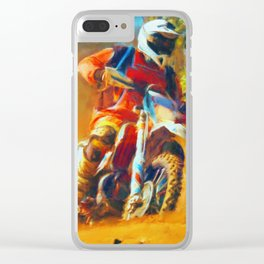 Motor Bike Sport Race Painting Clear iPhone Case