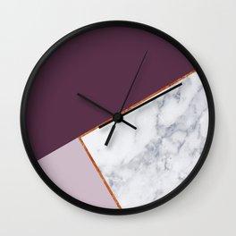 MARBLE PLUM PURPLE LAVENDER COPPER GEOMETRIC Wall Clock