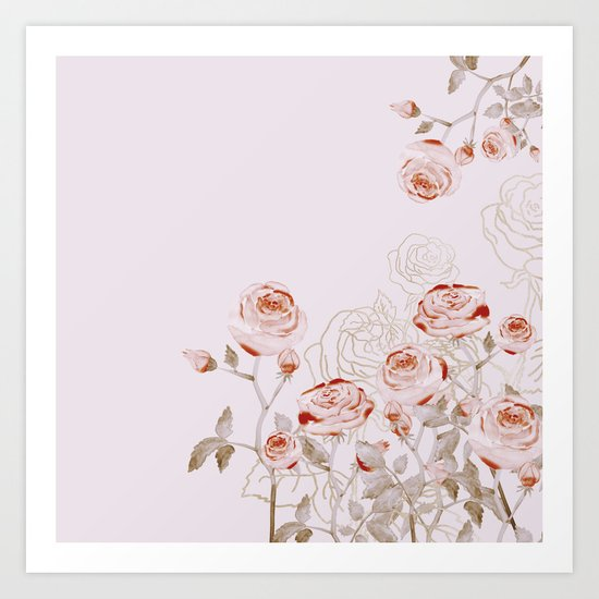 FRENCH PALE ROSES Art Print