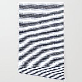 Navy Blue Stripes on White Wallpaper