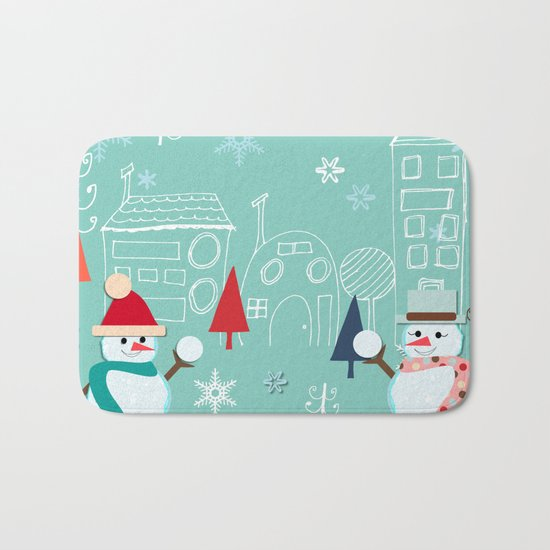 winter fun blue Bath Mat