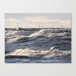 City and Waves Canvas Print