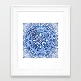 Calming Blue Mandala Framed Art Print