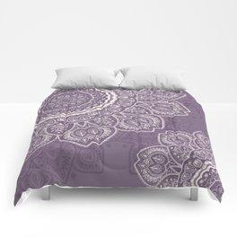 Mandala Tulips in Lavender ad Cream Comforters