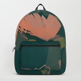 Pink Pastel Flowers On Green Canvas. Backpack
