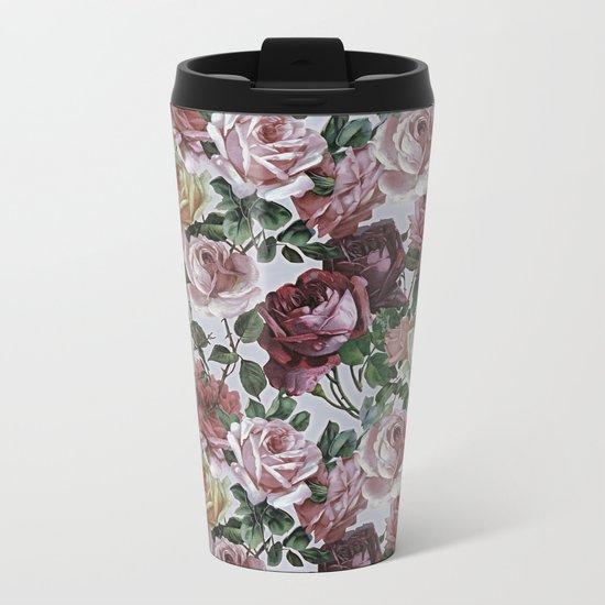 Vintage & Shabby-chic - retro floral roses pattern Metal Travel Mug