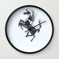 ferrari Wall Clocks featuring Forza Ferrari- Ferrari logo by N_Cvetty