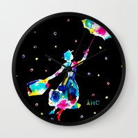 mary poppins Wall Clocks featuring Mary Poppins by Armyhu