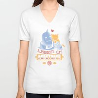 fullmetal V-neck T-shirts featuring Alphonse's Cat Sanctuary by adho1982