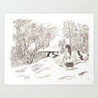 Day at the River Art Print