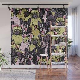 Social French Bulldog Wall Mural