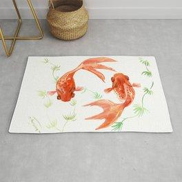 Koi Fish, Feng Shui, Goldfish art, Two fish, Rug