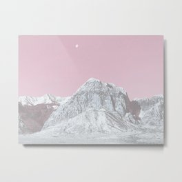 Mojave Pink Sky // Red Rock Canyon Las Vegas Desert Landscape Snowstorm Moon Mountains Metal Print