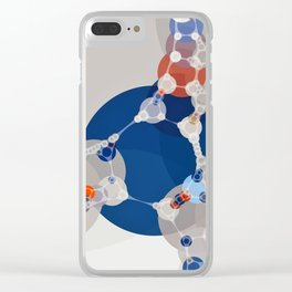 taylor - linen beige sapphire blue shades white burnt orange abstract Clear iPhone Case