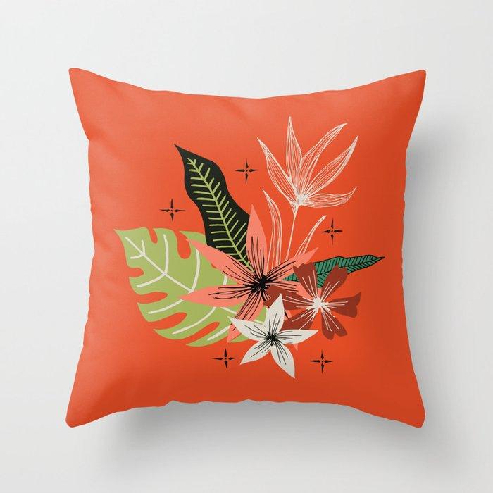 tropical bouquet on orange Throw Pillow