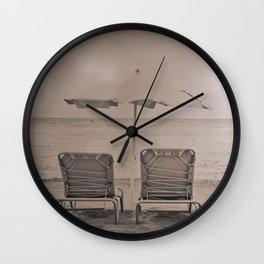 The loneliness of the deck chairs - La soledad de las tumbonas Wall Clock