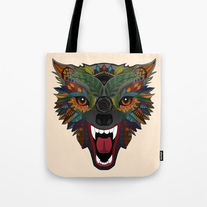 wolf fight flight ecru Tote Bag