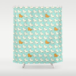 Proud cat pattern blue Shower Curtain