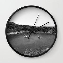 Rhodes Greece Anthony Quinn Bay black white Wall Clock
