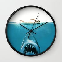 shark Wall Clocks featuring Shark by Maioriz Home
