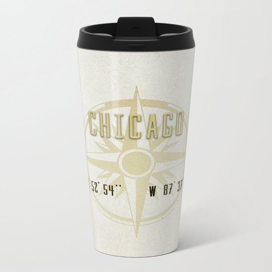 Chicago - Vintage Map and Location Metal Travel Mug
