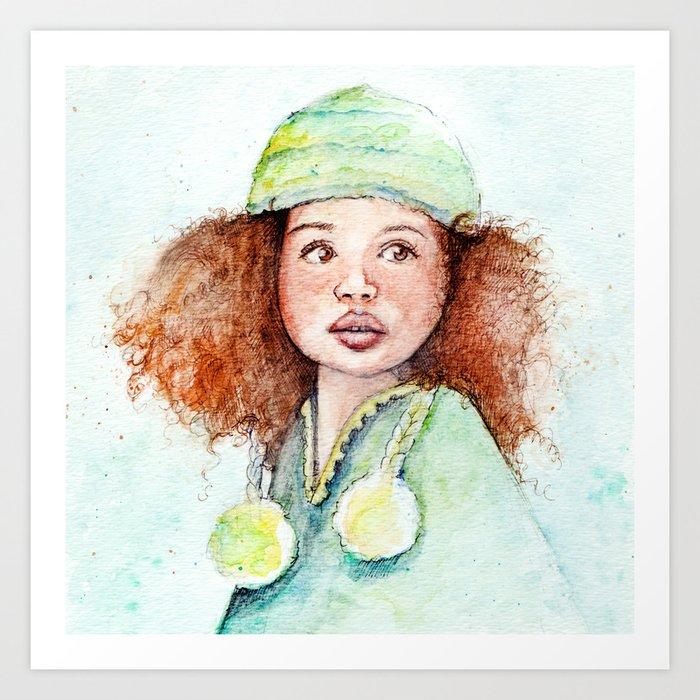 Girl with the Hair Art Print