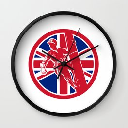 British Linesman Union Jack Flag Icon Wall Clock