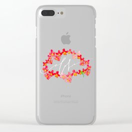 Abstract Aloha Orchid Lei - Orange Black Clear iPhone Case
