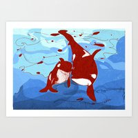 killer whale Art Prints featuring killer whale by Elettra